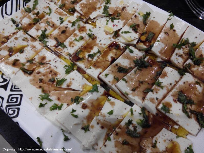 Carpaccio de tofu à l'huile d'olive balsamique